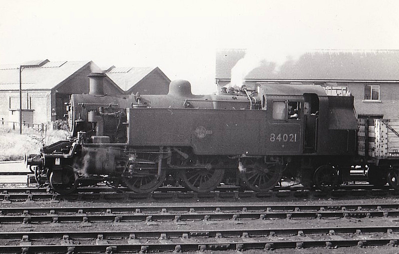84021 - Riddles BR Class 2 -2-6-2T - built 03/57 by Darlington Works - 07/62 to Crewe Works as works pilot, as seen here - 09/64 withdrawn from Crewe Works.