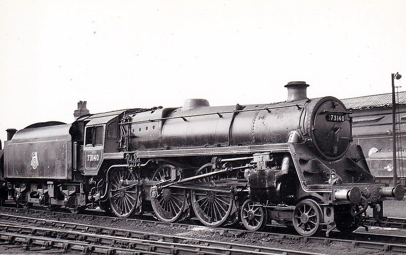 73140 - Riddles BR Class 5MT 4-6-0 - built 11/56 by Derby Works - 10/67 withdrawn from 9H Patricroft - 02/68 scrapped by Cashmore's, Newport. 73125 to 73154 were built with Caprotti valve gear.