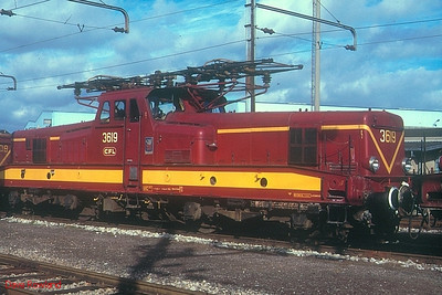 """CFL monocabine 3619 """"Wasserbillig"""" at Luxembourg depot on 29th October 1989."""