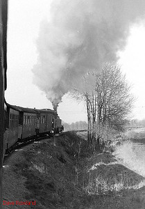 DR 2-8-0T 99 4802 hauls the 08.48 Göhren to Putbus service on 10th April 1991, as viewed from the train.
