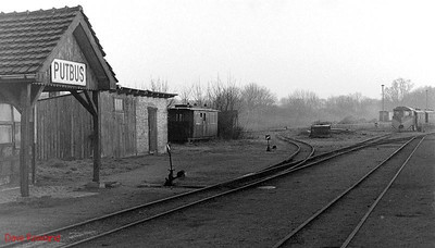 The 750mm gauge yard at Putbus, with the station on the left; the locomotive depot is behind the camera, and more sidings are to the right of this view. 10th Aril 1991.