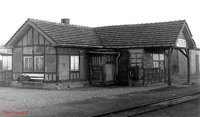 A view of the Rügenesche Kleinbahn station building at Putbus; the standard gauge station and track is behind this building to the left. 10th April 1991.