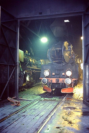 PKP Ol49 Class 2-6-2 Ol49 59 is seen inside Wolsztyn depot on 2nd March 1994.