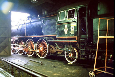 PKP Pt47 class 2-8-2 Pt47 65 is seen in the loco shed at Wolsztyn on 3rd March 1994.