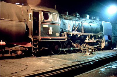 PKP Ty45 class 2-10-0 Ty45 379 is pictured in the roundhouse at Wolsztyn on 3rd March 1994.