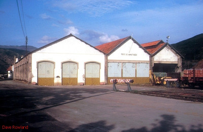 The former CP locomotive depot at Pocinho; it still carries CP signs, and appears to be in use, although trackwork has been lifted for some time. 31st May 1992.
