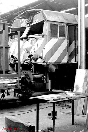 CP Bombardier diesel 1968 is seen in Barreiro Works, where it will evidently have cab repairs following a collision. 16th May 1991.