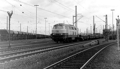 216 107 passing Oberhausen Osterfeld Sud depot, 26th February 1990.