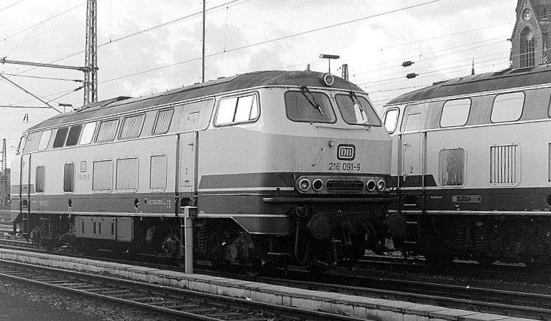216 091, Oberhausen Osterfeld Sud depot, 26th February 1990.