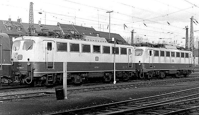 140 766, 140 814, Oberhausen Osterfeld Sud depot, 26th February 1990.