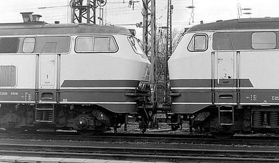 215 077, 215 087, Oberhausen Osterfeld Sud depot, 26th February 1990.