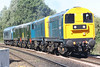 20205 and 20189 lead D8188, D8059 and D182  running as 0Z46 Derby - Dereham MNR approaching Badgeney Road AHB en route to the MNR for the forthcoming weekend's Diesel Gala, 07/09/16.