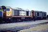 20059, in very tatty Railfreight livery, and 20145 of Eastfield MPD sit in Hundred Road Sidings at March Depot, 12/06/88.