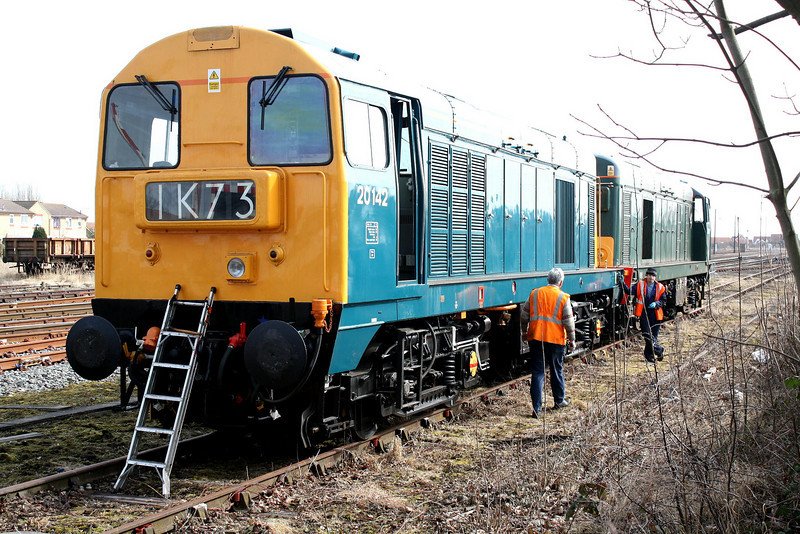 20142 and 20189, on hire to GBRf, have been receiving attention at the GBRf depot in March and are now parked by March East Signalbox, 16/03/10.