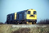 20133 and 20034 head past Silt Road LC as 0H94 from Bury for Whitemoor, 22/02/88.