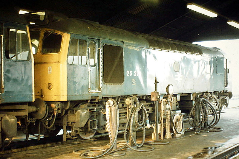 25296 sits in the 'A' Shed at March Depot, 09/05/82. In December 1985, the loco was renumbered to 25906 and finally withdrawn in October 1986.