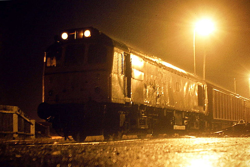 25175 is my second piece of evidence to refute the fact that a Class 25 never went down the Wisbech Branch! Pouring with rain and pitch dark, the loco stands in the yard waiting to depart for Whitemoor, 12/84. This loco was withdrawn in December 1985.