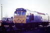 25285 is parked alongside the shed at March Depot, 01/12/85. The engine was withdrawn in March 1986.
