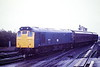 25037 takes the road for Whitemoor on 6H94 from Bury, March Station, 27/10/86. This loco was withdrawn in January 1987.