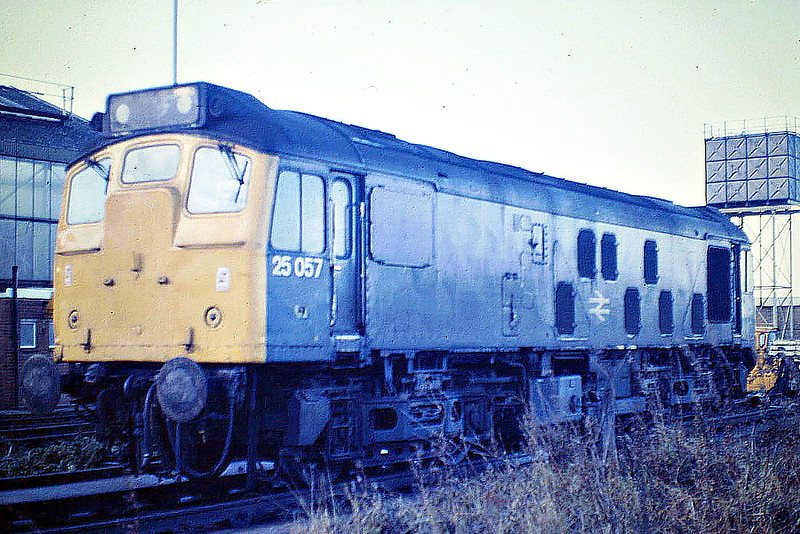 25057 on March Depot, 10/11/85. This loco was withdrawn in March 1987 and was now preserved on the NNR for many years but is now in store at Worksop with HNRC. In 1963, as D5207, it was the subject of the first railway picture that I ever took (and no longer have) - much better than this one too.