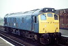 25027 has come off Depot at March an is headed east light engine, 11/82. This loco was withdrawn in May 1983.