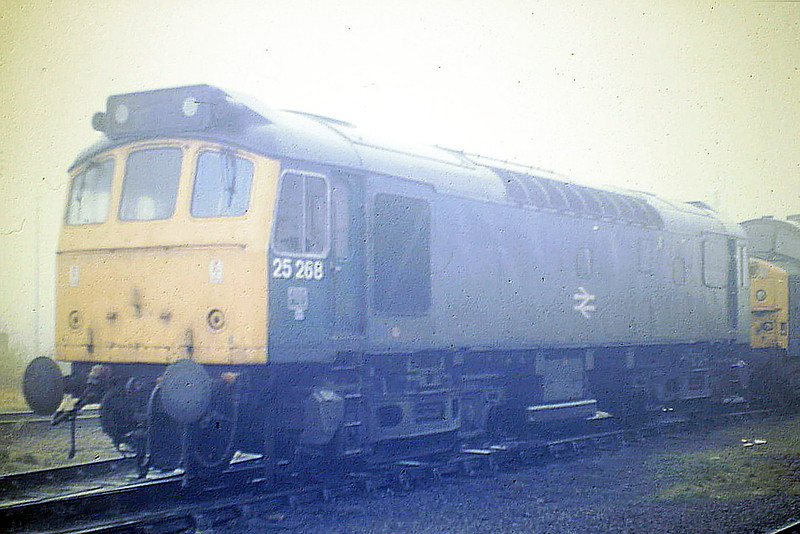 25268 sits on March Depot on a misty November 17th, 1985. Class 25;s usually worked down on the Birkenhead Speedlink and were sent on either the Peterborough or Bury pick-up during the day.