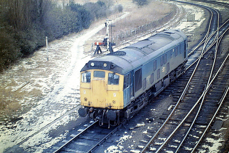 25059 goes on Depot having dropped 6H94 in Whitemoor, 18/02/86. This loco was withdrawn in March 1987 and is preserved on the Keighley & Worth Valley Railway.