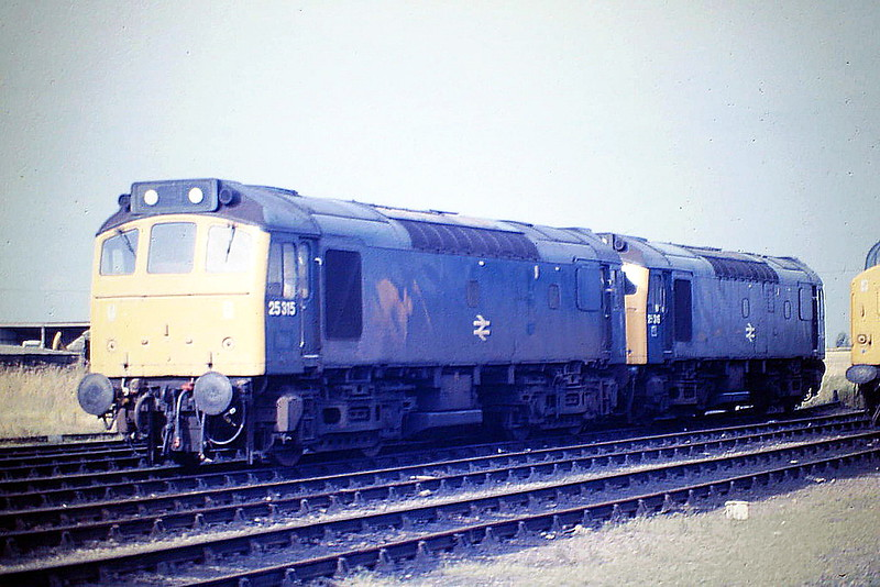 25315 and 25316 sit in Hundred Road Sidings at March Depot, 11/08/85. Both were withdrawn in November 1985 and numbered 25910 and 25911 respectively, lasting until March 1987 and September 1986 respectively.