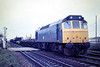 25201 crosses Norwood Road LC with a Peterborough - Whitemoor train, 02/04/85. The loco was withdrawn in January 1987.