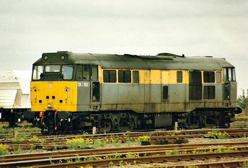 31113 is stabled in the Up Yard at March, 21/05/97. This engine was withdrawn 02/99 and scrapped 08/08.