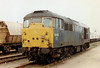 31450 sits in the Up Yard at March, failed, 07/03/97. This engine was withdrawn 12/98 and scrapped 04/99.
