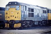 31118, fitted with snowploughs in April. sits on March Depot, 15/04/88. The loco was withdrawn in February 1989. Built as D5536, it became 31118 in January 1973. It was withdrawn in February 1989 and scrapped.