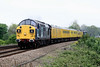 37087 leads on 1Q28 Derby - Cambridge test train at Silt Road LC, 37 229 trailing, 28/04/11.