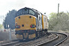 37608 trails 37601 as they thrash past Badgeney Road AHB on 1Q75 1037 Derby RTC - Cambridge TMD, 21/03/14.