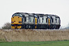 37605 approaches Horsemoor on 0Z55 Norwich Crown Point - Crewe Gresty Lane with 37425 and 37422 in tow on a dull 27/03/18.
