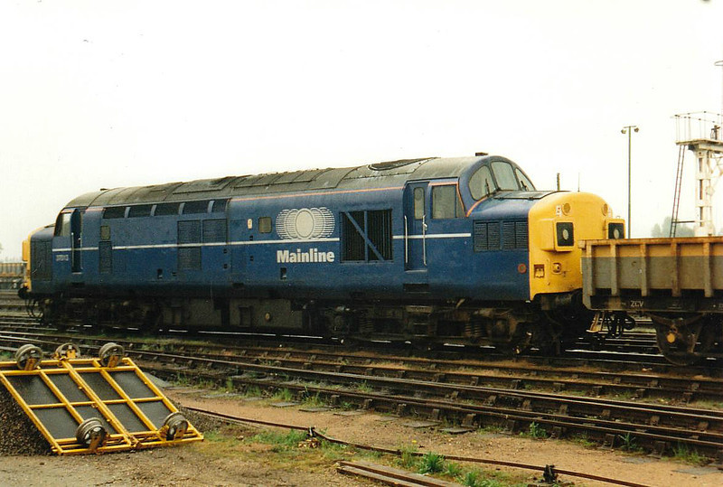 37013 is stabled in the Up Yard at March for weekend engineering duties, 26/04/97. This engine was withdrawn 10/99.