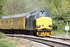 37612, tailed by 37116, approaches Badgeney Road AHB on a Doncaster - Ingatestone via Ipswich test train, 07/05/21.