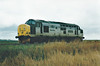37194 BRITISH INTERNATIONAL FREIGHT ASSOCIATION heads west past Horsemoor, 15/04/98. This engine was withdrawn in 01/99 and is now part of the DRS Fleet.