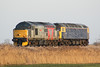 37601 PERSEUS approaches Horsemoor with 47815 in tow on 0Z59 Foxton - Leicester, 22/02/18. 47815 was damaged in a shunting accident with 37884 a few weeks previously.