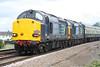 37607 leads 37612 on 1Z40 'Norfolk Explorer' (Pathfinder Railtours), Bristol Parkway - Dereham Railtour approaching Silt Road LC, 08/07/15.