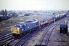 37020 heads out of Whitemoor with 6N84 Duxford - Tyne Yard, 03/10/84. The only extant object in this picture in 2011 is the little foghut on the right, apparently a listed building! 37020 was built as D6720 in 1961 and renumbered in February 1974. In December 1986 it emerged from heavy general overhaul as 37702 and was placed in store in March 2001. In July 2001, it was sent to Spain for infrastructure duties, withdrawn in February 2007 and cut up in Spain.