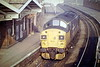 37012 passes through March Station en route for March Depot, 04/87. 37012 was built as D6712 in 1961 and renumbered in February 1974. In June 1999 it was placed in store, withdrawn in March 2002 and scrapped.