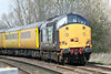 37601, thrashing at some speed, heads 1Q75 1037 Derby RTC - Cambridge TMD towards Badgeney Road AHB, 21/03/14, tailed by 37608.
