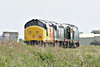 37219, newly liveried by new owners, Colas Rail,  follows D306, D8059 and 50007 past Horsemoor on 0Z50 Washwood Heath - Sheringham for the weekend NNR Diesel Gala, 12/06/14.