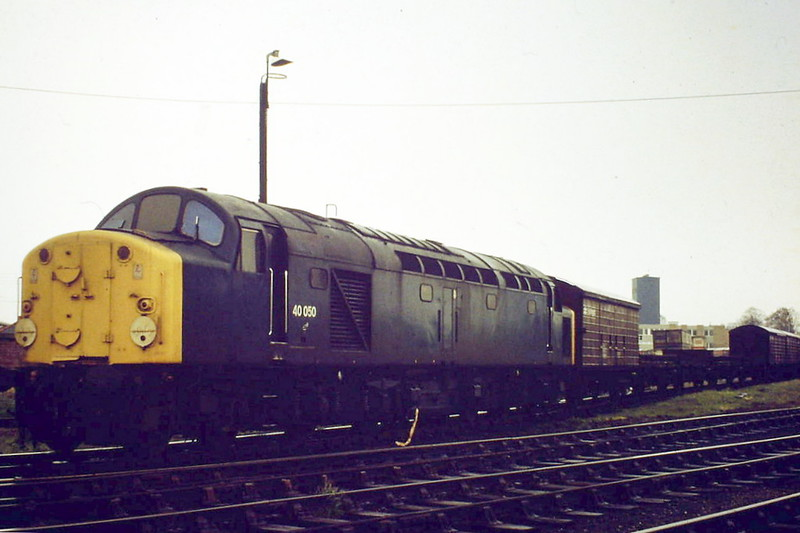 40050 sits at the head of rake of steel empties in Wisbech Yard, 04/81. 40050 was built as D250 and renumbered in February 1974. It was withdrawn in August 1983 and scrapped at Doncaster Works. At his time, Scottish Class 40's were regular power on the Paisley - Wisbech Petfood trains, working to Wisbech in the early hours and back to March at about 1600. In between times, they would work a trip to the goods yard with coal and steel from Trostre for the adjacent Metal Box factory and  it is the empties that we see here.