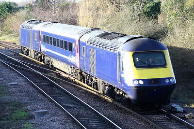 43030 leads 43034 towards March West Junction with a single coach on a St Philips March - Ely North Junction working, 12/12/18.