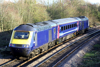 43034 trails 43030 past March West Junction with a single coach on a St Philips March - Ely North Junction working, 12/12/18.