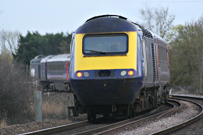 43017 trails 43174 on the 1150 St Philips Marsh HST Depot - Ely North Junction off-lease stock move past Badgeney Road AHB, 05/03/19.