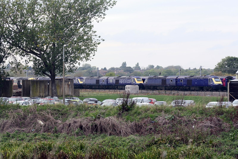 Class 43 HST power cars in store (dumped?) at Ely North Junction, 23/10/19. Note Inter-City liveried 43185 on extreme left.