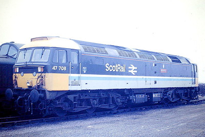 47708 is stabled on March Depot en route to Stratford works with no brakes, 02/03/86. 47708 was built by Crewe Works in  1965 as D1968 and ETHed and renumbered to 47516 in October 1973. In June 1979 it was fitted for push/pull working between Glasgow and Edinburgh. It was withdrawn in May 1995 and scrapped in August 1995.